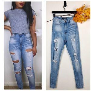 Fashion Nova•Skinny high waisted distressed jeans